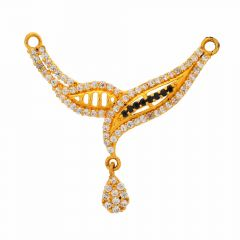 Glossy Finish Curved Leafy Design CZ Synthetic Colour Stone Studded Gold Tanmaniya