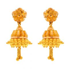 Glossy Finish Floral Design Drop Jhumki Gold Earrings