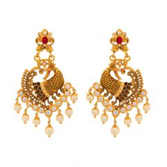 Antique Matte Finish Peacock Design CZ Studded With Pearl Ruby Dangler Gold Earrings