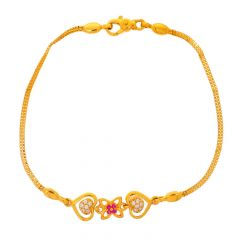 Glossy Finish Dual Heart Design CZ With Synthetic Colour Stone Studded Gold Bracelet