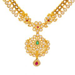 Traditional Floral Gemstone Paisley CZ Gold Necklace