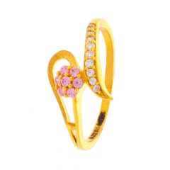 Matte Finish Twisted Floral Design CZ With Synthetic Colour Stone Studded Gold Ring