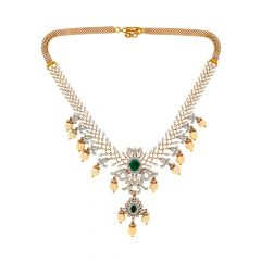 Traditional Gemstone Diamond Gold Necklace