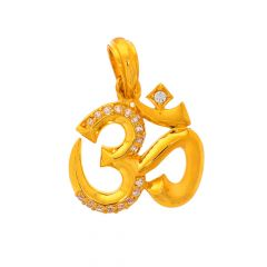 Glossy Finish Om Design With CZ Studded Gold Pendant