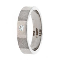 Matte Textured Finish Bazel Set Diamond Platinum Ring