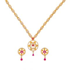 Glossy Finish Traditional Floral Design CZ With Synthetic Ruby Studded Gold Necklace Set