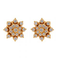 Sparkling Pave Prong Set Floral Design Diamond Earrings