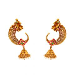 Antique Matte Finish Filigree Traditional Design Studded With Synthetic Pearl Ruby Emerald Gold Earrings