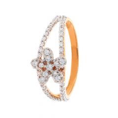 Glossy Finish Floral Design CZ Studded Rose Gold Ring