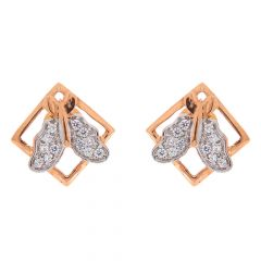 Glossy Finish Butterfly Design CZ Studded Gold Earrings
