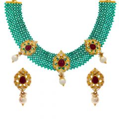 Glossy Finish Traditional Design CZ Studded With Snythetic Emerald Pearl Bead Gold Pendant