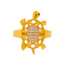 Glossy Finish Tortoise Design CZ Studded Gold Ring