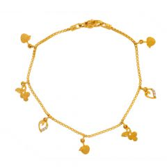 Glossy Finish Charms Deisgn CZ Studded Gold Bracelet