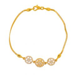 Glossy Finish Halo Floral Design CZ Studded Gold Bracelet