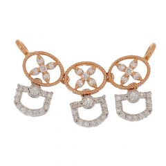 Glittering Pave Prong Set Contemporary Design Two Tone Diamond Tanmaiya