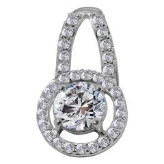 18kt White Gold Pave Prong Set Cluster With Solitaire Diamond Circle Pendant-1LKJD