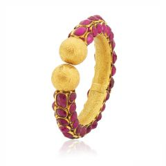 22kt Embossed Flower Design With Pink Stone Gold Kada,  (1 Pcs) - 15800