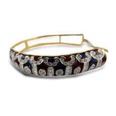 18kt Gold With Baguette Channel Set Diamond  And Round Brilliant Diamond Enamel Kada  -DB169