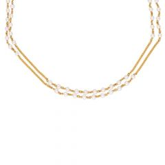 Fancy Two Layered Pearl Yellow Gold 22kt Gemstone Chain-JPOCT-19-08