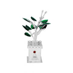 Religious 800 Purity Silver Tulsi Plant For Puja-JPSE-19-43