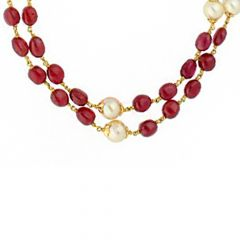 Delicate Dual Party Wear Yellow Gold 22kt Gemstone Chain-JPSEP-18-101