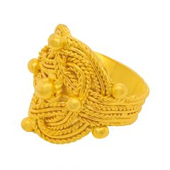 Traditional Wire Twist Embossed Gold Ring