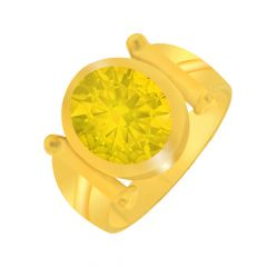 Elegant Synthetic Yellow Sapphire Gold Ring For Him