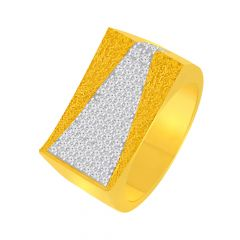 Classy Textured Cluster CZ Gold Ring For Him