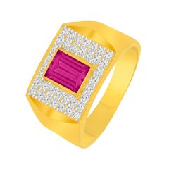 Traditional Framing Cluster CZ Gemstone Gold Ring For Him