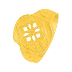 Traditional Geometric Cutout Gold Ring For Him