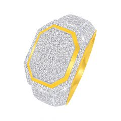 Classical Cluster CZ Gold Ring For Him