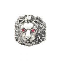 Royal Lion Head Gemstone Silver Ring For Him-S-RNG1019-3341