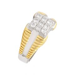 Ritual Cluster CZ Diamond Silver Ring For Him-S-RNG1041-3340