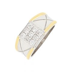 Sparkling Cluster CZ Diamond Silver Ring For Him-S-RNG1042-3316