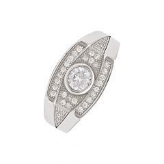 Sparkling CZ Cluster Diamond Silver Ring For Him-S-RNG1048-3305