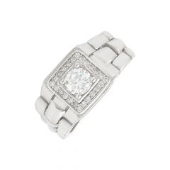 Stylish Cluster CZ Diamond Flexi Silver Ring For Him-S-RNG1073-3362