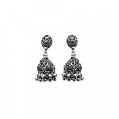 Traditional Oxidised 925 Silver Jhumka Earring-DGSILEAR003