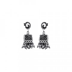 Traditional Embossed 925 Silver Jhumka Earring-DGSILEAR007