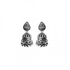 Unique Engraved 925 Silver Jhumka Earring-DGSILEAR008