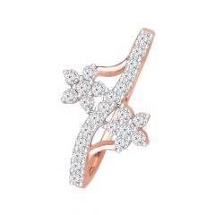 Glittering Cluster Crisscross 14kt Rose Gold Diamond Ring -DM007RNGR8085