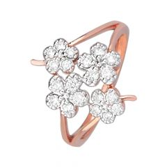 Blooming Floral Office Wear 18kt Rose Gold Diamond Ring -DM008RNGAR015308
