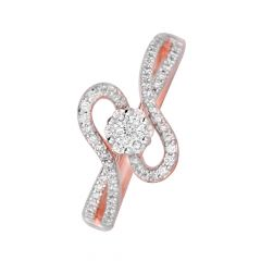 Sparkling Cluster Curve 14kt Rose Gold Diamond Ring -DM014RNGSJR5165
