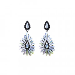 Elegant Drops Office Wear White Silver 925 with Marcasite Earrings-145-ASER62