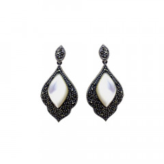 Stylish Drops Casual Wear White Silver 925 With Marcasite Earrings -145-ASER66