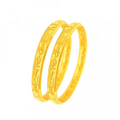 Traditional Textured Daily Wear Gold Bangles (Set of Two) -CHU1665