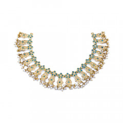 Classical Floral Dangler Pearl Gemstone Gold Necklace