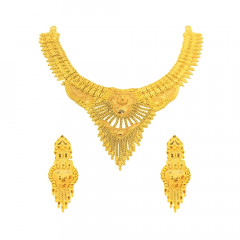 Traditional Textured Tassel Wedding Yellow Gold 22kt Necklace Set -145-NS1453