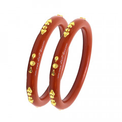 Classic Daily Wear Synthetic Pola Gold Bangle (Set Of Two) -PCHU72