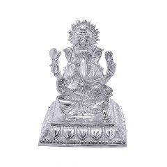 Silver Textured Lord Ganesha Idol