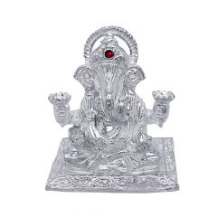 Silver Gemstone Lord Dagdusheth Ganpati Idol